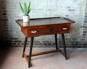 SALE Mid Century Silversmith Desk Indonesian Vintage Desk Vintage Work Table Console Table Tall Desk