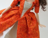 Historic Colonial Barbie dress: Orange Falling Leaves with Taupe Satin