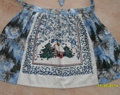 NEW Extra Large Half Apron Winter Husky Wolf Dog Tienshan Cabin In The Snow Towel Insert