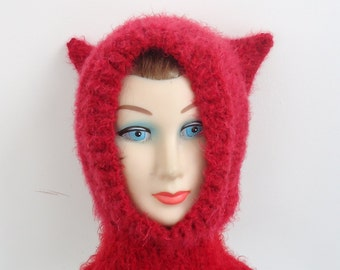 Red Hand Knit Kitty Cat Ears Balaclava Hood Helmet Hat Youth to Adult Small Medium Size
