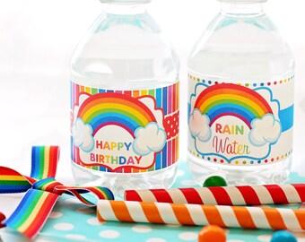 Rainbow Bottle Labels, Rainbow Bottle Wraps, Rainbow Party, Rainbow Birthday, Over The Rainbow, Over The Rainbow, Bottle Wrappers, Stickers