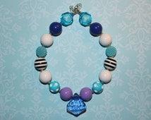 Blue, Purple, Black & White Chunky Bubblegum Bead Necklace, Jewelry With Big Blue Diamond Pendant For Children