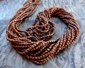 2mm Rounded Cube Bead, African Brass Trade Beads, Antique Copper, 25 Inches, Priced per Strand