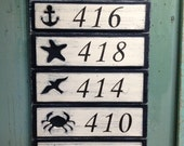 Address Sign  Number Beach Lake House Nautical by CastawaysHall - 4 Numbers Digits