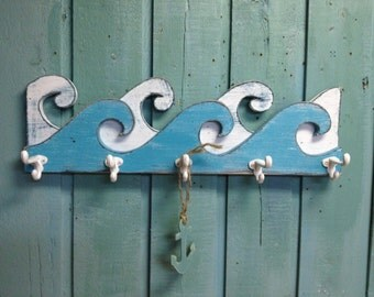 Waves Coat Rack Hook Rack Sign Wall Beach House Nautical Decor by CastawaysHall - 25 Inches