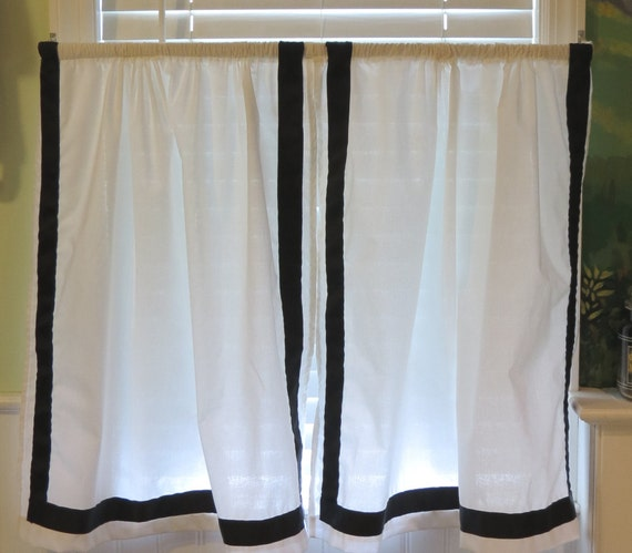 Cafe Curtain Pair White With Black Grosgrain 1 1 2 Inch Border
