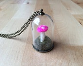 Mushroom Terrarium Necklace, Bell Jar, Hot Pink