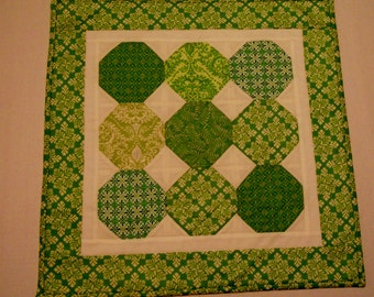 Green Quilted Table Runner, St Patricks Day, QuiltedTable Topper, Spring Summer