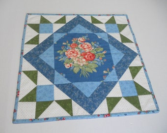 Quilted Table Topper, Country Table Quilt, Floral Quilted Table Runner, Cottage Chic Table Topper, French Blue Provence Quilted Table Runner