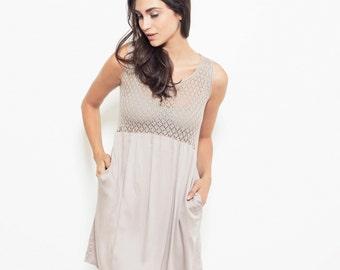 Pink summer dress,  day dress, babydoll dress, half knit dress, mini length, sheer top, viscose dress, short dress