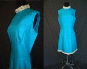 SALE Stunning Turquoise Blue Silk Vintage 1960's MOD Aline Beaded Cockatil Dress M
