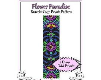 Bead Pattern Peyote(Bracelet Cuff)-Flower Paradise