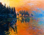 Beautiful Lake-Original Oil Painting on Canvas 26x20  Landscape Painting Original Art Impressionistic Oil on Canvas by Ivailo Nikolov