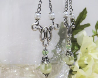 Antique Silver Filigree and Pearl Chain Chandelier Dangles- Lightest Spring Moss