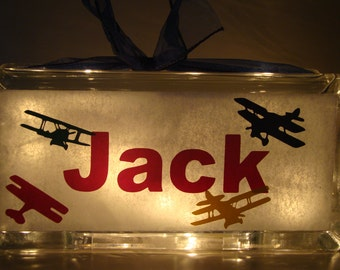 Glass Block Night Light Biplanes Aiplanes Customized Personalized  Vinyl lettering