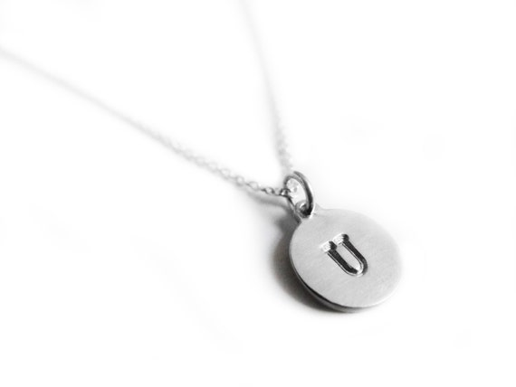 SALE- Petite Custom Initials Necklace- Hand Stamped Initial bracelet- handmade sterling silver 925 personalized pendant on 19cm long chain