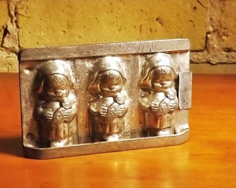 Vintage Chocolate Mold Three Little Girls, German Made Chocolate Mold Numbered xxxx Confeection Mold