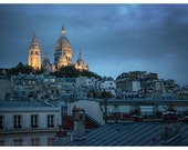 Paris Rooftops, Sacré Coeur Before Sunrise - Montmartre morning light dawn blue grey les toits home decor 8x12+ Original Fine Art Photograph