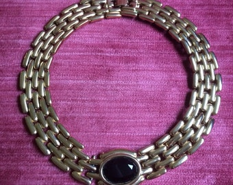 1990s Givenchy gold and onyx necklace