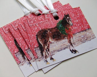 Horse GIFT TAG - Set of 20 Handmade Holiday Gift Tags Christmas Horse in Snow Hand Painted Christian Scripture