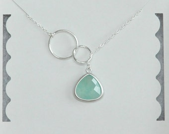 Infinity Necklace, Mint Gemstone, Lariat Necklace, Sterling Silver, Birthday Gift, Bridesmaid Gift, Christmas Gift