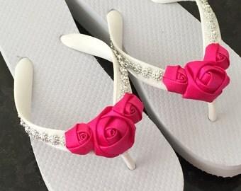 Bridal Flip Flops.Wedding Flip Flops/Wedges.Beach Wedding.Bridal Accessories.Rhinestone Flip Flops.Wedding Shoes.Bridesmaids Flip Flops.