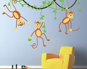 ON SALE Monkeys and Vines Decal, Vinyl Wall Decal for Nursery, Kids, Childrens Room, teen decal