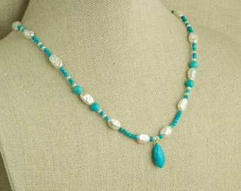 Turquoise and Pearl Necklace Tibetan Turquoise Pendant