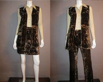 1970s Velvet Pantsuit - 70s Bell Bottoms Vest Belt  Mini Skirt Set - Crushed Brown Velvet Outfit S