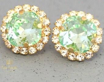 Mint Stud Earrings, Clear Mint Stud Earrings Swarovski Green Mint Stud Earrings Bridal Mint Earrings, Bridesmaids Earrings Gift For Her