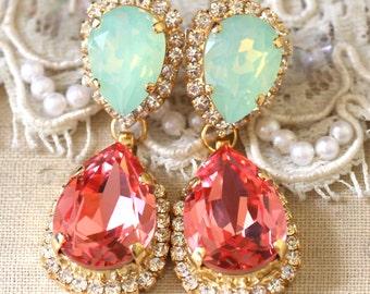 Coral Mint Earrings,Coral Swarovski Drop Earrings,Bridal Drop Earrings,Mint Coral Swarovski Earrings, Peach Mint Statement Dangle Earrings