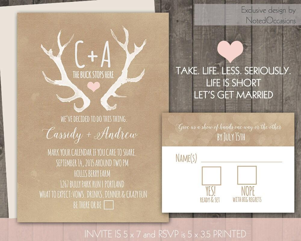 Deer Wedding Invitations: Rustic Wedding Invitation Set Deer Antlers Blush Casual Blush