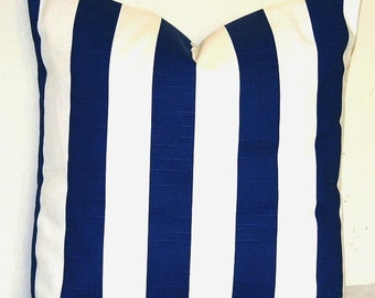 Striped White and Navy Blue 18 x 18 inch Decorative Toss Pillow Cover