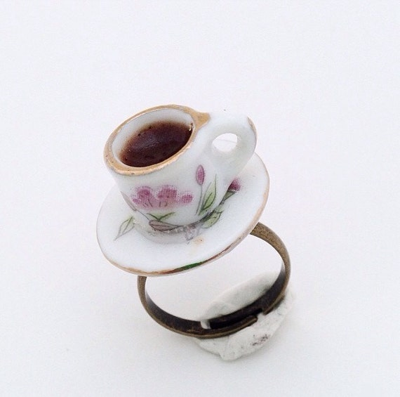 A Mini Adorable SCENTED COFFEE CUP On A Little Plate On A Adjustable Ring, Birthday Party, Alice in Wonderland, Tea Party