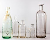 Vintage Glass Bottle Collection Early 20th Century