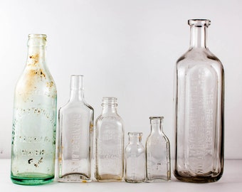 SALE! Half off! Vintage Glass Bottle Collection Early 20th Century
