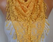 Yellow  Lace Scarf, Spring Summer Scarf, Easter,Shawl, Cowl Scarf Bridesmaid Gift Gift Ideas For Her, Women's Fashion Accessories