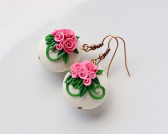dusky pink rose earrings, lentil bead earrings, polymer clay earrings, rose bead earrings, wedding earrings
