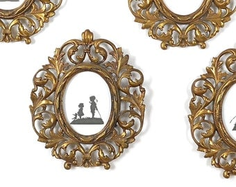 Antique Cast Metal Picture Frame Three Matching Available Wall Hanging Oval Gold Home Decor French Cottage Hollywood Regency