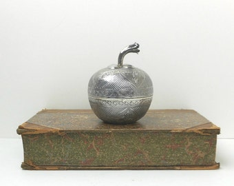 Antique Silver Apple Box Asian Figural Late 1800s Home Decor Collectible Tea Caddy Small Item Storage