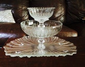 STUNNING --Handmade 3 Tier Vintage GLASS Serving Platter --One Of a Kind Platter With Bowls--Wedding Decor