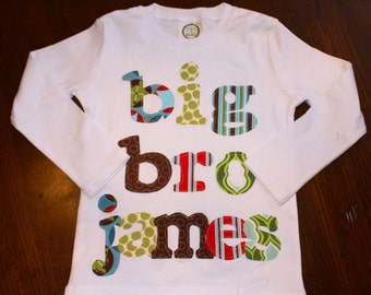 Personalized Big Bro Shirt -Choose Shirt Color and Sleeve Length - Perfect for Pregnancy Announcement, Baby Shower Gift