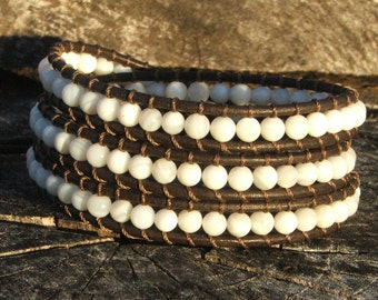 Handmade Leather Wrap Bracelet - Mother of Pearl beads on leather