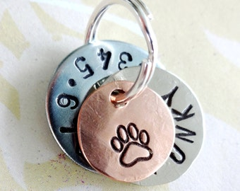 Personalized Small Dog Tag - Pet Tag - Small Cat Tag - ID Tag - Hand Stamped with phone number, name & paw print or heart