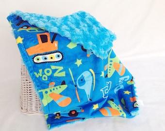 Travel Minky Baby Boy Blanket - Baby Blanket - Car Minky Lovey - Boy Lovey Blanket - Security Boy Blanket - Plane Lovey - Truck Snuggle