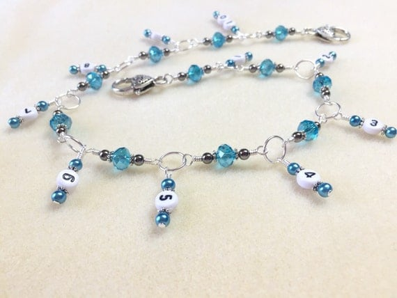 Hanging Chain Style Row Counter Aqua Blue Beaded Number