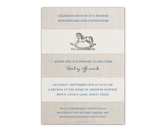 Print OR Email - Rugby Stripe Rocking Horse Baby Shower Invitation - DIGITAL FILE