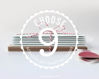 Choose 9 Scratch-off Greeting Cards // Mix and Match