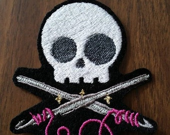 Items similar to Zombie Crochet Skull Pin Brooch Ornament ...