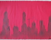 Dangerous City – Chicago Skyline: pulp painting on handmade red bamboo paper (2014), Item No. 147.09